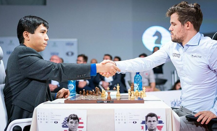 Carlsen vs So in the Skilling Open final
