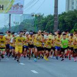 Running teams get ready to compete at the Hanoi night marathon