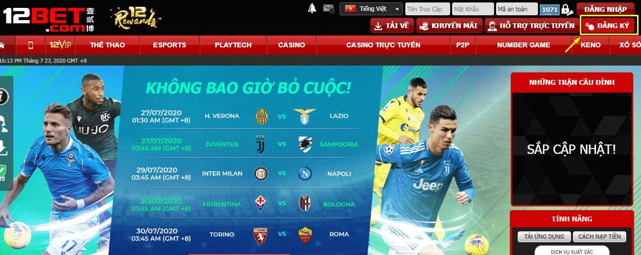 How to create a 12bet football betting account