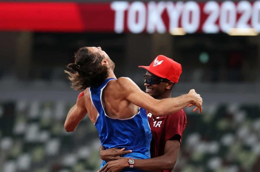 Two athletes receive gold medal in high jump